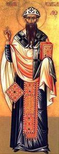 Il Vescovo Cirillo di Alessandria d'Egitto, ispiratore dell'omicidio di Ipazia.