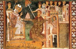Limperatore-Costantino-offre-a-Papa-Silvestro-I-la-tiara-imperiale-simbolo-del-potere-temporale-affresco-nellOratorio-di-San-Silvestro.