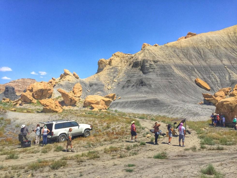 La troupe nel deserto dello Utah.