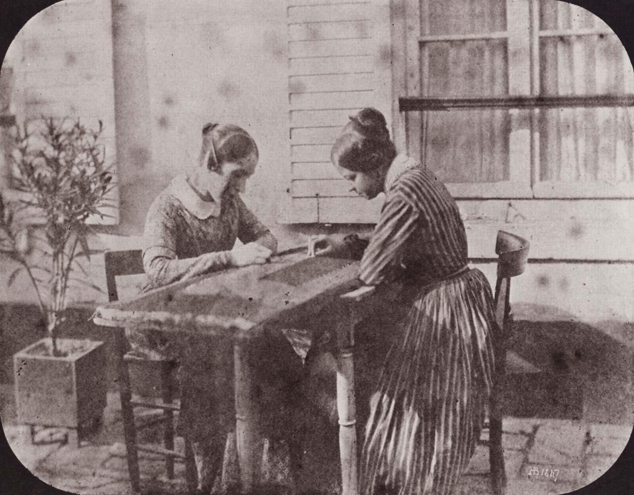 H. Bayard: Due ricamatrici all'aperto; 1847.