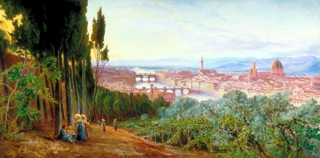 """Edward Lear, """"Panorama di Firenze"""", 1862"""