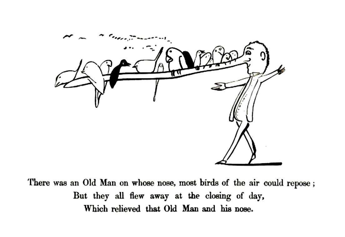 Edward Lear, naso con uccelli
