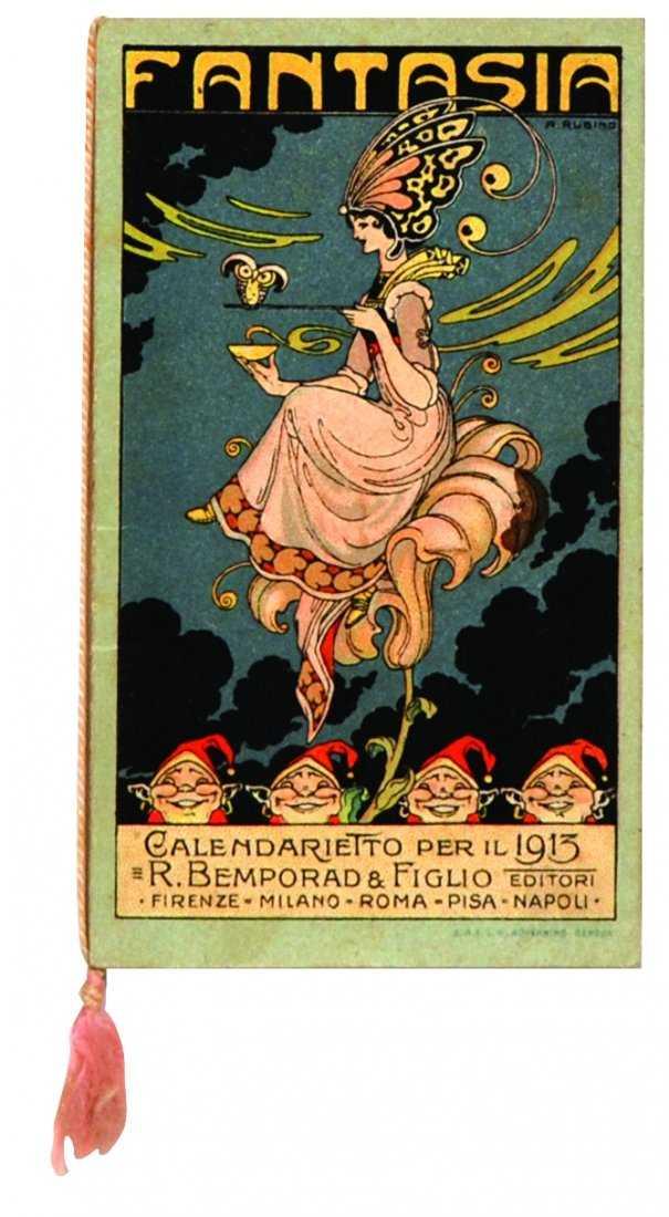 Rubino: Fantasia. Raro calendarietto del 1913 (R. Bemporad e Figlio). Pubblicizzava novità editoriali della Bemporad destinate ai ragazzi