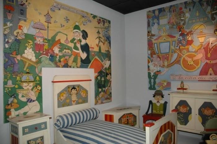 Rubino: camera per bambini, circa 1922, esposta alla galleria Wolfsoniana di Genova Nervi