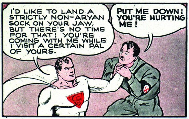 "This handout from Amsterdam's Jewish Historical Museum, from the Superheros and Schlemiels exhibition, shows ""How Superman would end the war"" by Jerry Siegel and Joe Shuster, Look Magazine, February 27, 1940. From the simple sketches in America's turn-of-the-century Yiddish newspapers to Art Spiegelman's Holocaust narrative ""Maus"" 70 years on, comic strip art has long been used as a way to depict Jewish experience. REUTERS/DC Comics/Amsterdam Jewish Historical Museum Handout (NETHERLANDS). NO SALES. NO ARCHIVES. FOR EDITORIAL USE ONLY. NOT FOR SALE FOR MARKETING OR ADVERTISING CAMPAIGNS."