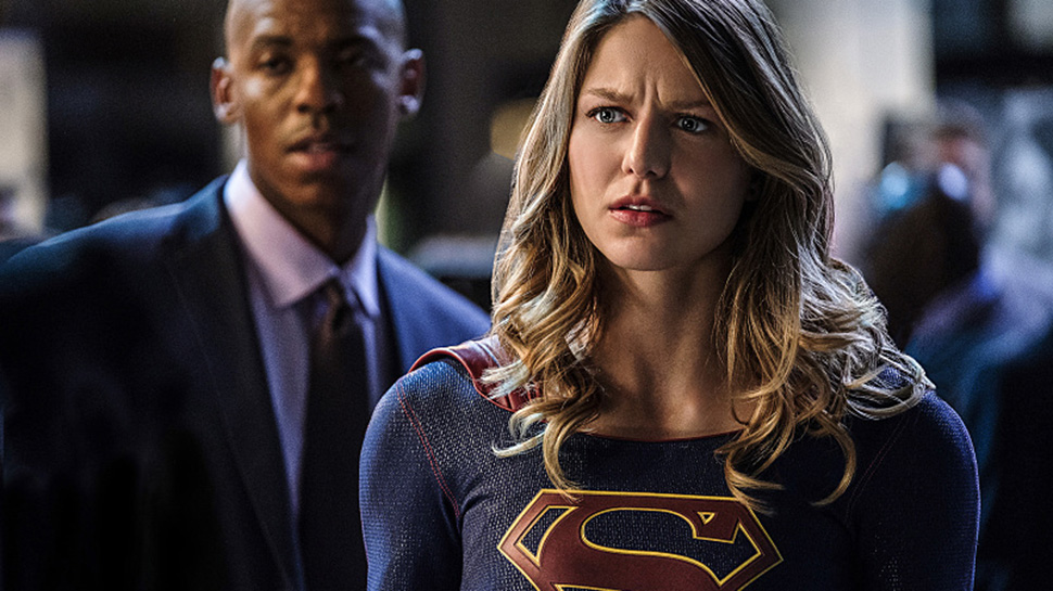 "Supergirl -- ""Crossfire"" -- Image SPG205a_0217 -- Pictured (L-R): Mehcad Brooks as James Olsen and Melissa Benoist as Kara/Supergirl -- Photo: Robert Falconer /The CW -- © 2016 The CW Network, LLC. All Rights Reserved"