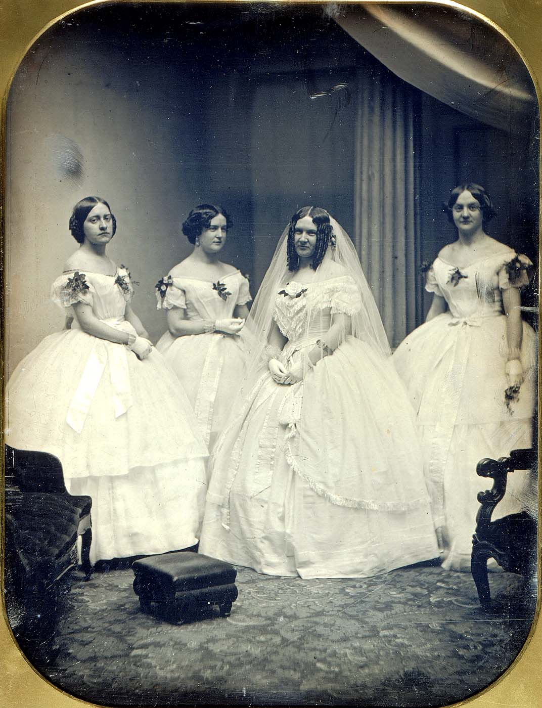 Portrait of a bride and her bridesmaids, 1850 ca.