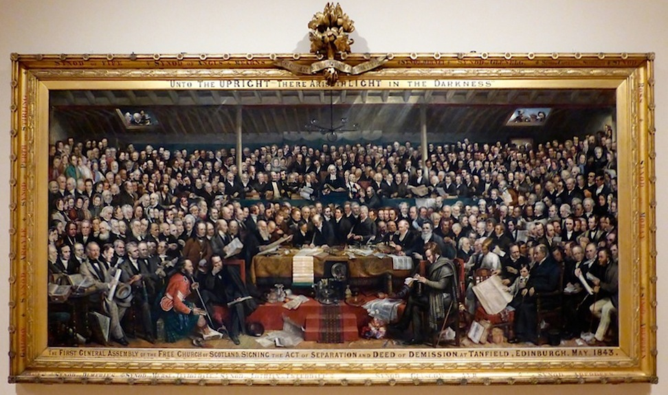 David Octavius Hill e Robert Adamson – The First General Assembly of the Free Church of Scotland (quadro con 457 personaggi ricavati da ritratti fotografici; 1843)