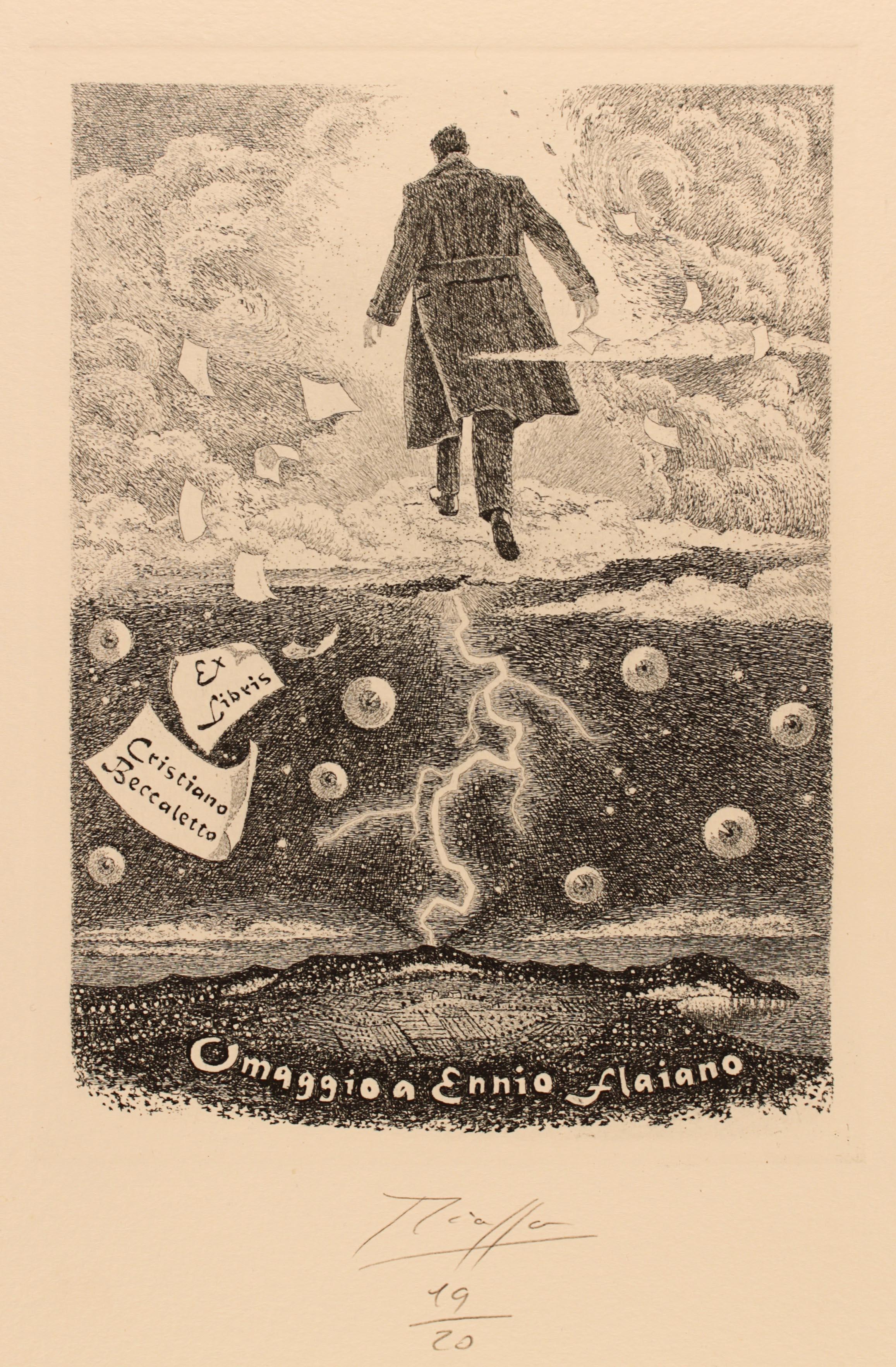 Vincenzo Piazza: Ex libris per Cristiano Beccaletto: Omaggio a Ennio Flaiano, 2010. Acquaforte (Collezione Frederikshavn Art Museum)