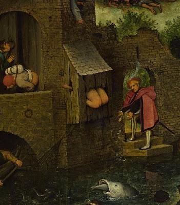 Scherzi di cattivo gusto. Latrine su un ponte nel dipinto di Brueghel I Proverbi Fiamminghi (1559)