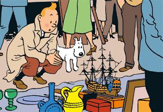 Tintin al Mercato di Place du Jeu Balle