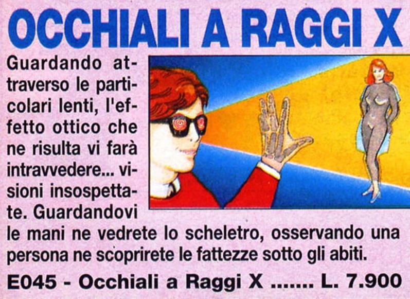 OCCHIALI A RAGGI X PER VEDERE DONNE NUDE